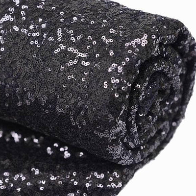 "54"" x 4 Yards Black Premium Sequin Fabric Bolt"