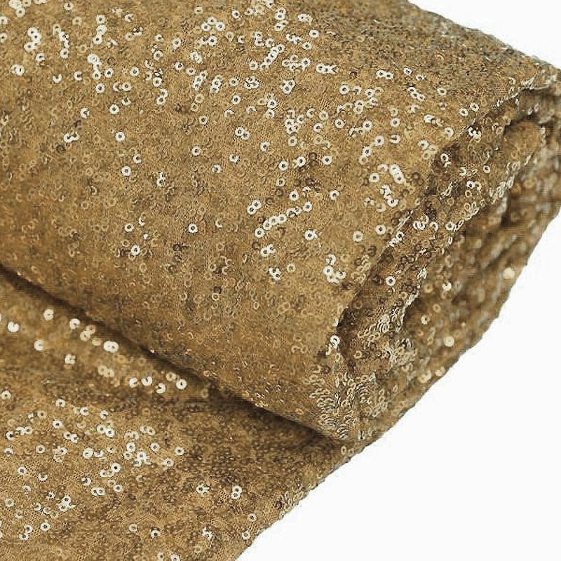 "Wedding Party Dress Decorative Duchess Premium Sequin Fabric Bolt By Yard - 54"" x 4yards - Gold"