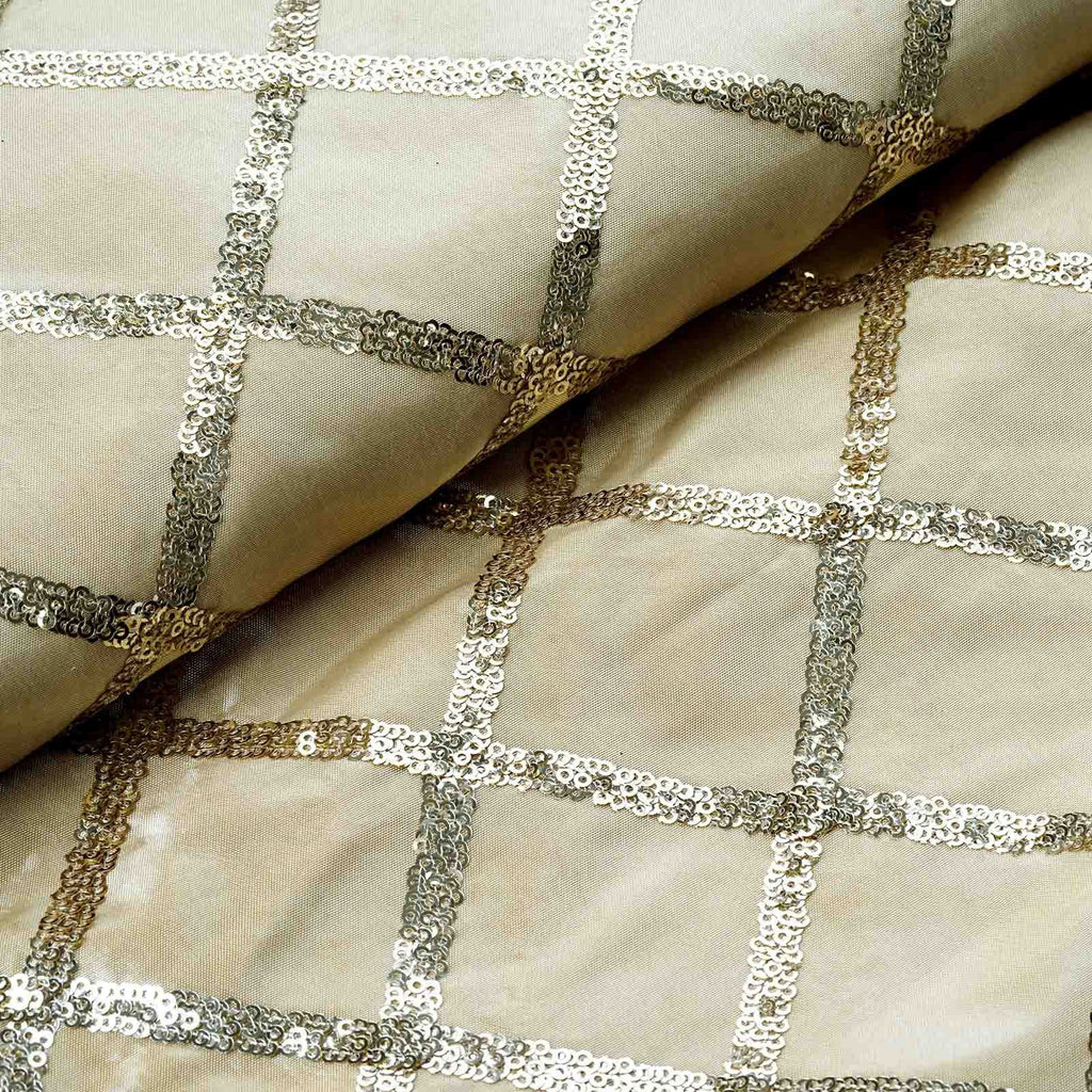 "Tafetta with Sequin Design Wedding Decorative Fabric Bolt By Yard - Champagne - 54""x4 Yards"