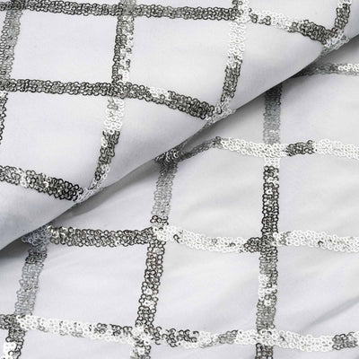 "Tafetta with Sequin Design Wedding Decorative Fabric Bolt By Yard - White - 54""x4 Yards"