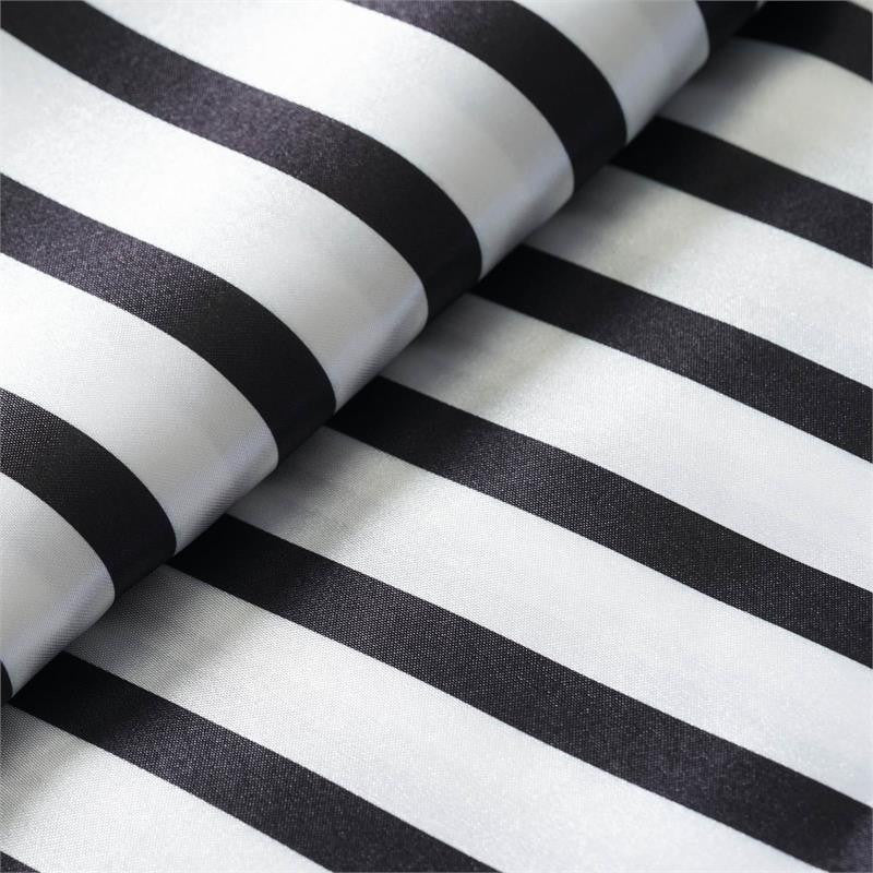 "Elegant Party Dress Satin Stripe Fabric Bolt By Yard - Black/White - 54""x10 Yards"
