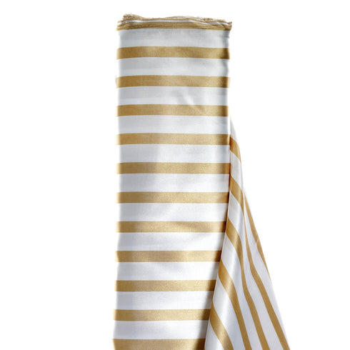 "Satin Stripe Fabric Bolt - Champagne /White - 54"" x 10 Yards"