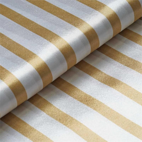 "Elegant Party Dress Satin Stripe Fabric Bolt By Yard - Champagne /White - 54""x10 Yards"