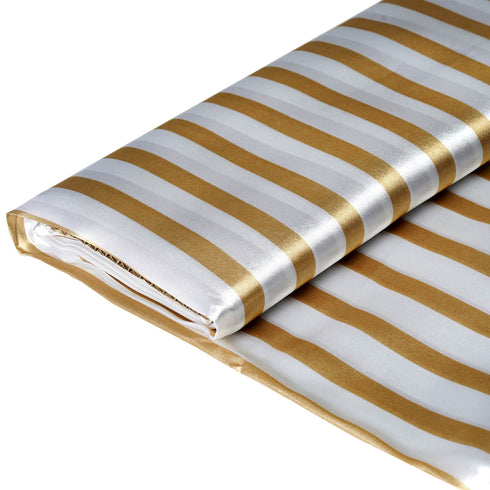 "54"" x 10 Yards Champagne /White Satin Stripe Fabric Bolt"