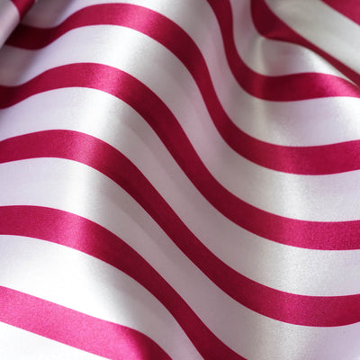 "Satin Stripe Fabric Bolt - Fushia /White - 54"" x 10 Yards"