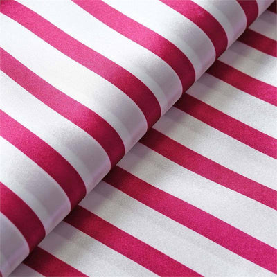 "Elegant Party Dress Satin Stripe Fabric Bolt By Yard - Fushia /White - 54""x10 Yards"
