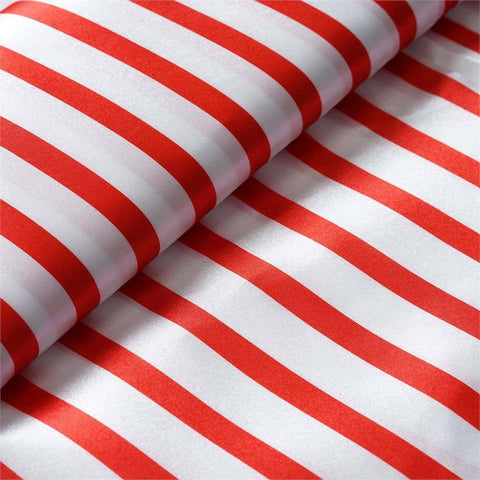 "Elegant Party Dress Satin Stripe Fabric Bolt By Yard - Red/White - 54""x10 Yards"