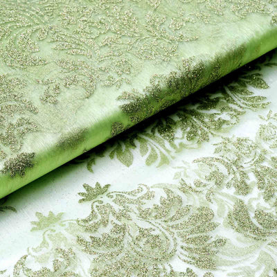 "Glittered Damsak Flocking Organza Wedding Dress Fabric Bolt By Yard - Apple Green - 54 "" x 10 yards"