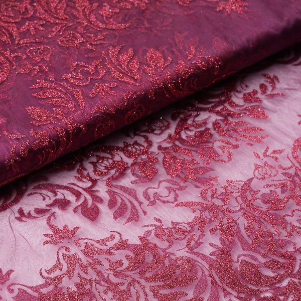 "54 "" x 10 yards Damask Flocking Sheer Organza Fabric Bolt - Eggplant"