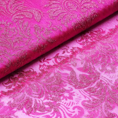 "Glittered Damsak Flocking Organza Wedding Dress Fabric Bolt By Yard - Fushia - 54 "" x 10 yards"