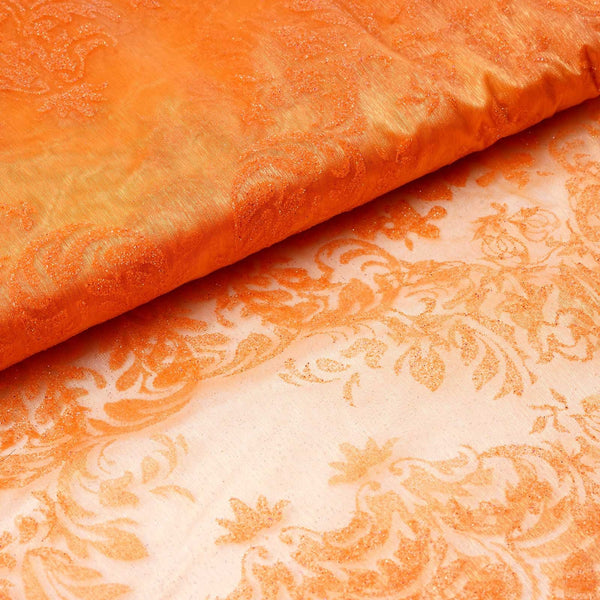 "54 "" x 10 yards Damask Flocking Sheer Organza Fabric Bolt - Orange"