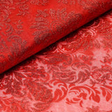 "Glittered Damsak Flocking Organza Wedding Dress Fabric Bolt By Yard - Red - 54 "" x 10 yards"
