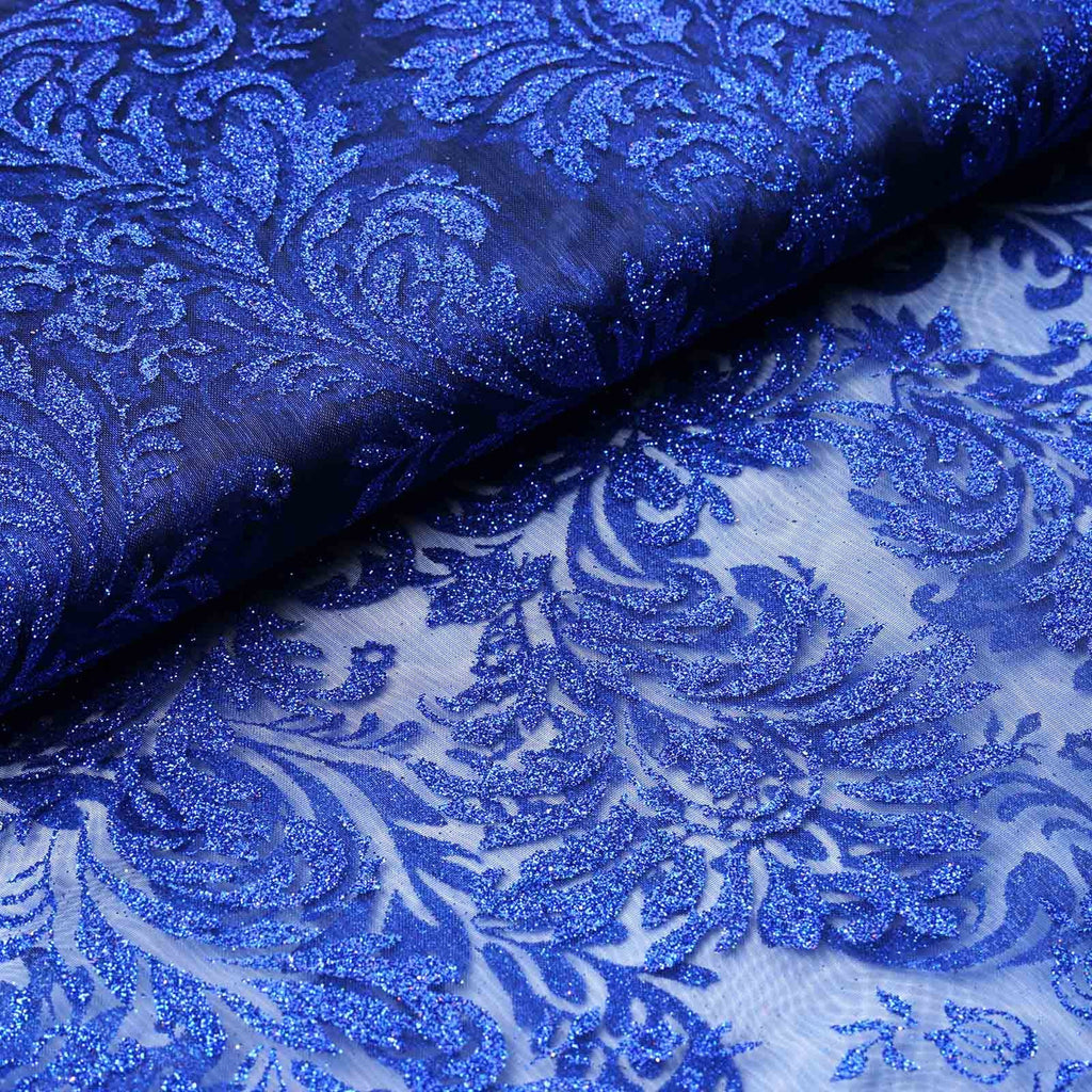 "Glittered Damsak Flocking Organza Wedding Dress Fabric Bolt By Yard - Royal Blue - 54 "" x 10 yards"