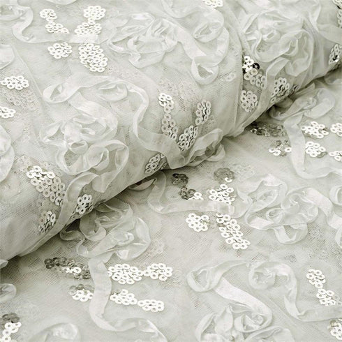 "Decorative Wedding Party Tulle Fabric Bolt By Yard with Sequin and Satin Work - Ivory-54"" x 5 Yards"