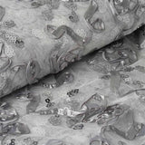 "Decorative Wedding Party Tulle Fabric Bolt By Yard with Sequin and Satin Work - Silver-54"" x 5 Yards"