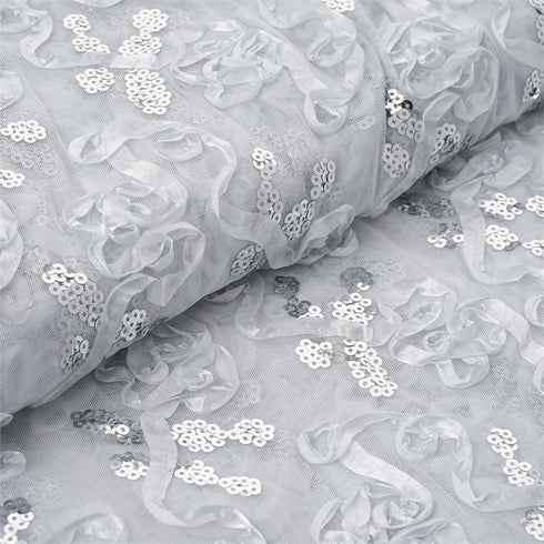 "Decorative Wedding Party Tulle Fabric Bolt By Yard with Sequin and Satin Work - White-54"" x 5 Yards"