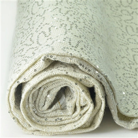 "Designer Sequin Burlap Fabric Bolt - Ivory/Silver - 54"" x 4 yards"