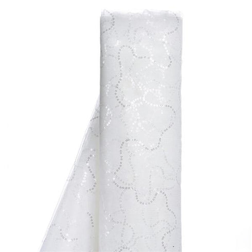"54"" x 4 Yards White Sequined Tulle Fabric Bolt"