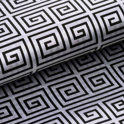 "54"" x 10 Yards Black Printed Satin Greek Key Pattern Fabric Bolts"