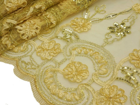"Fashionable Wedding Party Lace Embroidered Fabric Bolt By Yard - Champagne-54"" x 4 Yards"