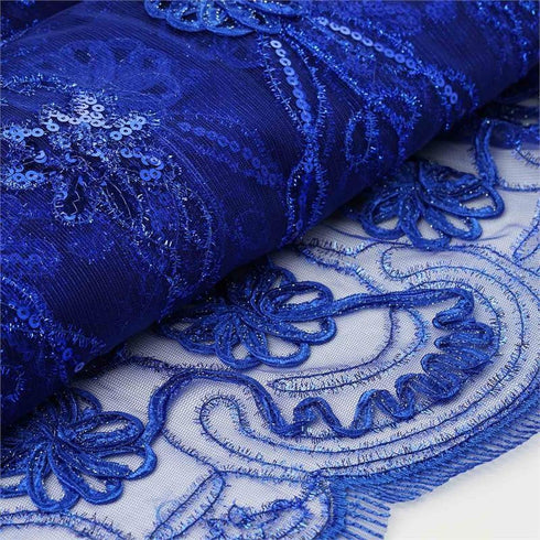 "Fashionable Wedding Party Lace Embroidered Fabric Bolt By Yard -Royal Blue-54"" x 4 Yards"