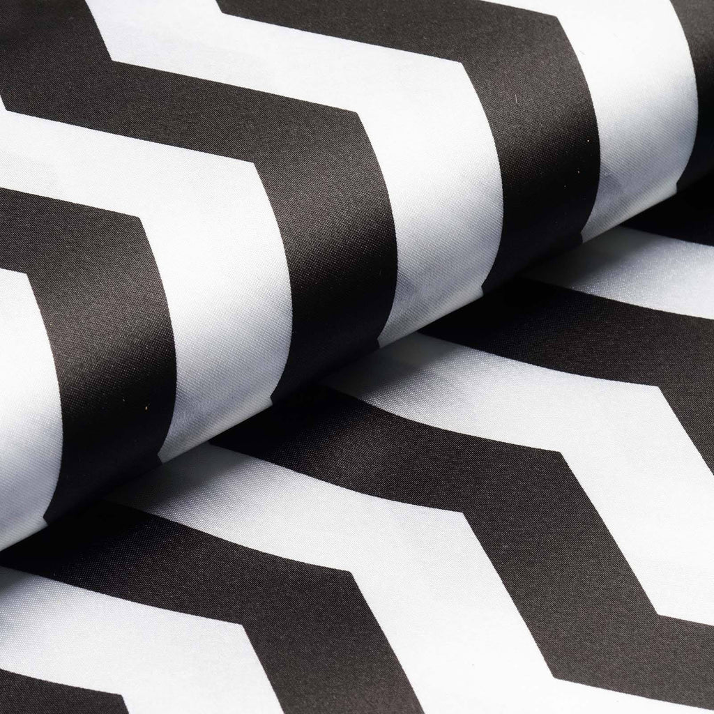 "Jazzed Up Satin Designer Wedding Party Fabric Bolt By Yard -Black/White-54""x10 Yards"
