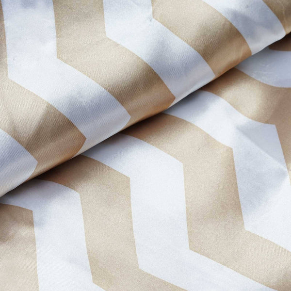 "54"" x 10 Yards Champagne/White Printed Satin Zig Zag Pattern Chevron Fabric by the Yard"