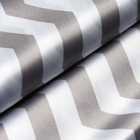 "54"" x 10 Yards Silver/White Printed Satin Zig Zag Pattern Chevron Fabric by the Yard"