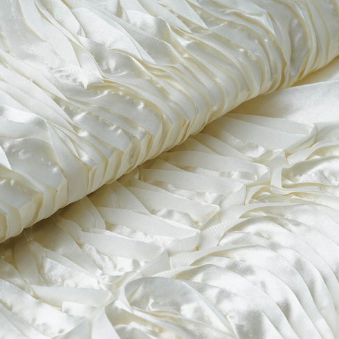 "Beverly Hills Style Fabric Bolt 54"" x 4 yards Ivory Satin Waves"