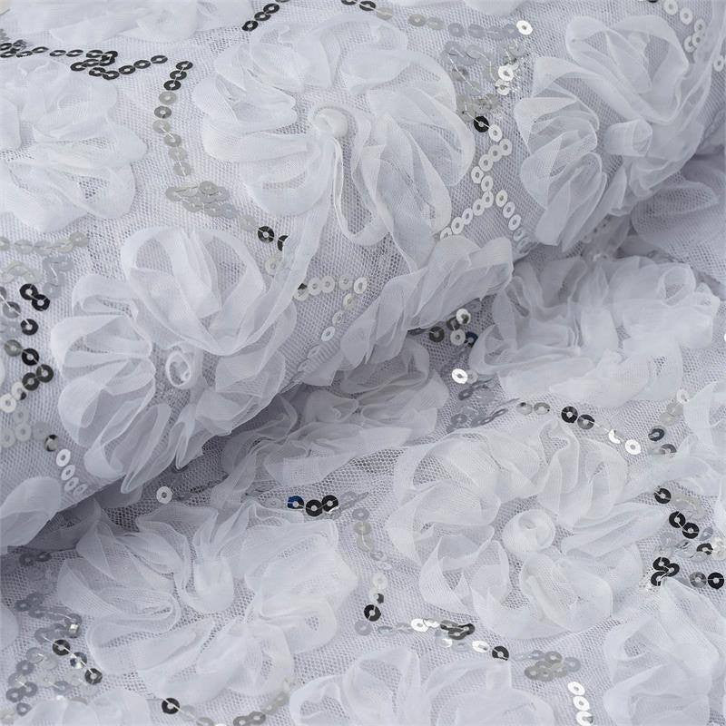 "Exquisite Couture Wedding Party Sequin Tulle Fabric Bolts By Yard - White - 54""x 4 Yards"