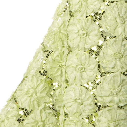 "Exquisite Couture Wedding Party Sequin Tulle Fabric Bolts By Yard - Tea Green - 54""x 4 Yards"