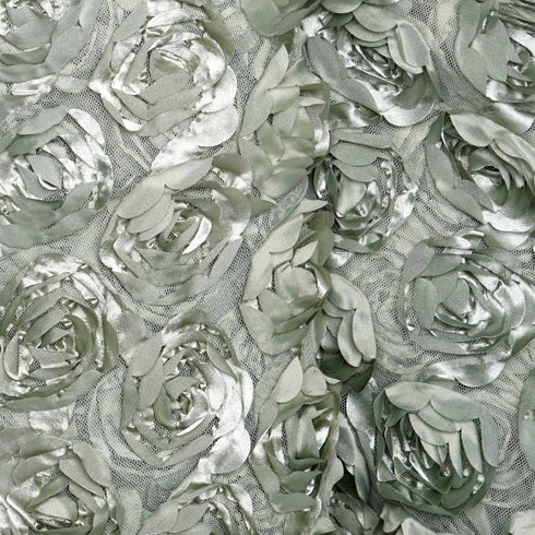 "Satin Rosette Wedding Bridal Lace Fabric Bolt by Yard - Reseda - 54"" x 4 Yards"