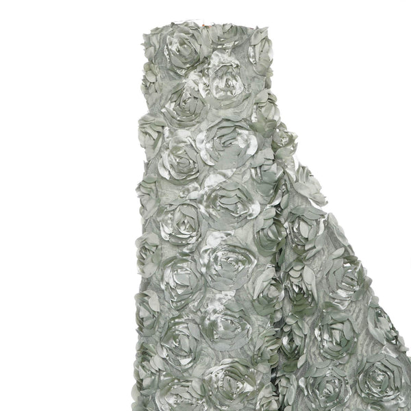 "54"" x 4 Yards Silver Sage Rosette Satin Lace Fabric Bolt"