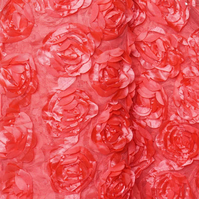 "Satin Rosette Wedding Bridal Lace Fabric Bolt by Yard - Coral - 54"" x 4 yards"