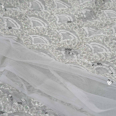 "Designer Party Dress Wedding Tulle with Sequins And Lace Work Fabric Bolt By Yard - White - 54""x4 Yards"