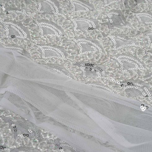 "54"" x 4 Yards Silver/White Thread Lace Knitting Patterns Sequined Fabric Roll 