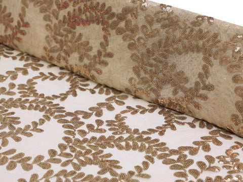 "Triumphant Laurels Fabric 54"" x 4 yards White Lace w/ Champagne Sequins"