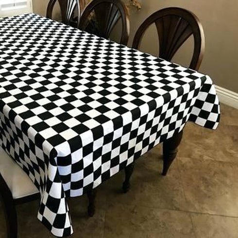 "54"" x 10 Yards Black/White Checkerboard Fabric By The Bolt"