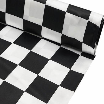 "54"" x 10 Yards Black/White Checkerboard Fabric By The Yard"