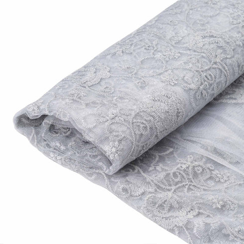 "54"" x 4 Yards Silver/White Interlaced Stitch Embroidered Sheer Drapery Fabric"