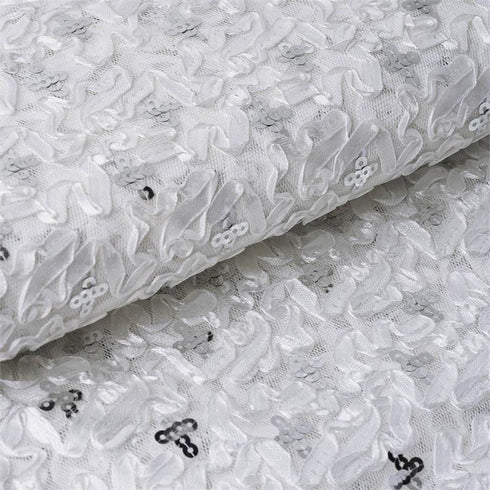 "54"" x 4 Yards White / Silver Satin Design Sequined Tulle Fabric by the Yard"