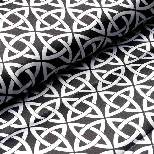 "10 Yards 54"" Black/White Zen Patterns Designer Satin Fabric Bolt"