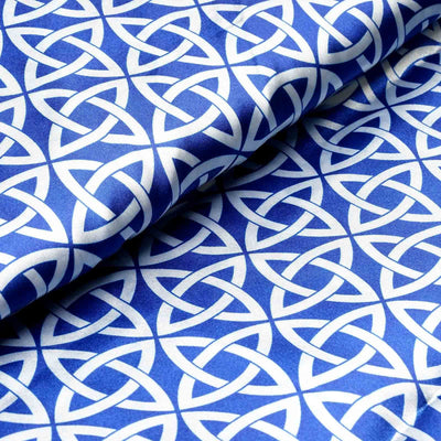 "54"" x 10 Yards Royal Blue Zen Patterns Printed Satin Fabric Bolts"