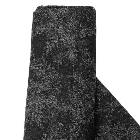 "54"" x 4 Yards Black Embroidered Lace Fabric By The Yard"