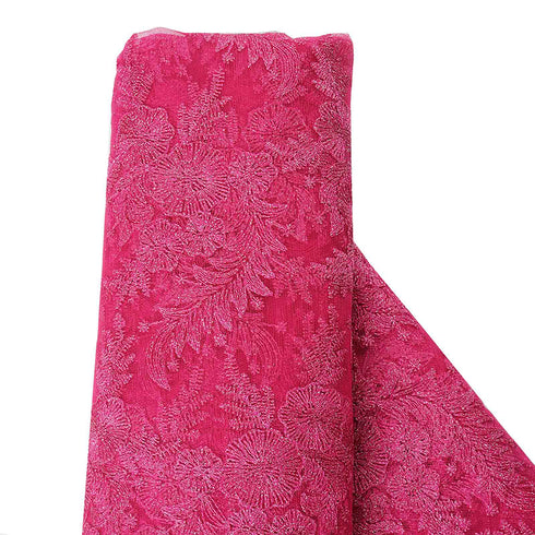 "54"" x 4 Yards Fushia Embroidered Lace Fabric By The Yard"