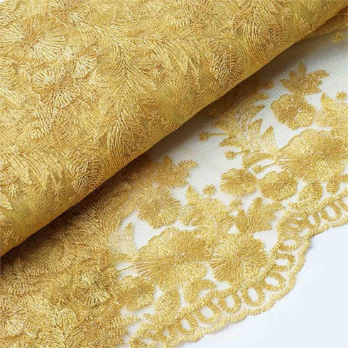 "ELEVATED LUXURY Embroider Fabric Bolt 54"" x 4 yards Gold"