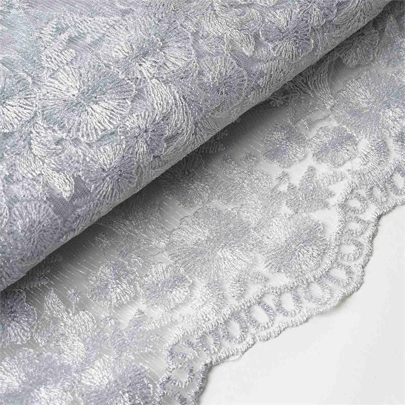 "ELEVATED LUXURY Embroider Fabric Bolt 54"" x 4 yards Silver"