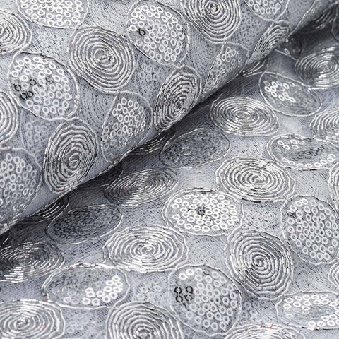 "Chic Round Swirls Sequin Fabric Bolt White / Silver 54"" x 4 yards"