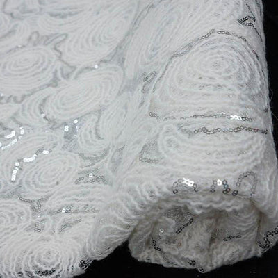 "54"" x 4 Yards White/Silver Lace Knitting Patterns Sequined Tulle Fabric by the Yard"
