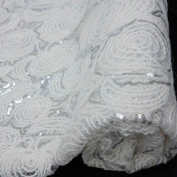 "54"" x 4 Yards White/Silver Lace Knitting Patterns Sequined Tulle Fabric by the Bolt"